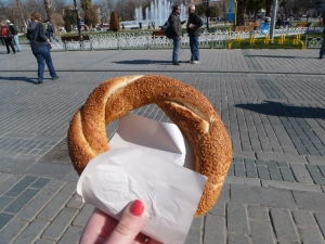 Sesame-encrusted simit, the most ubiquitous snack in all of Istanbul.