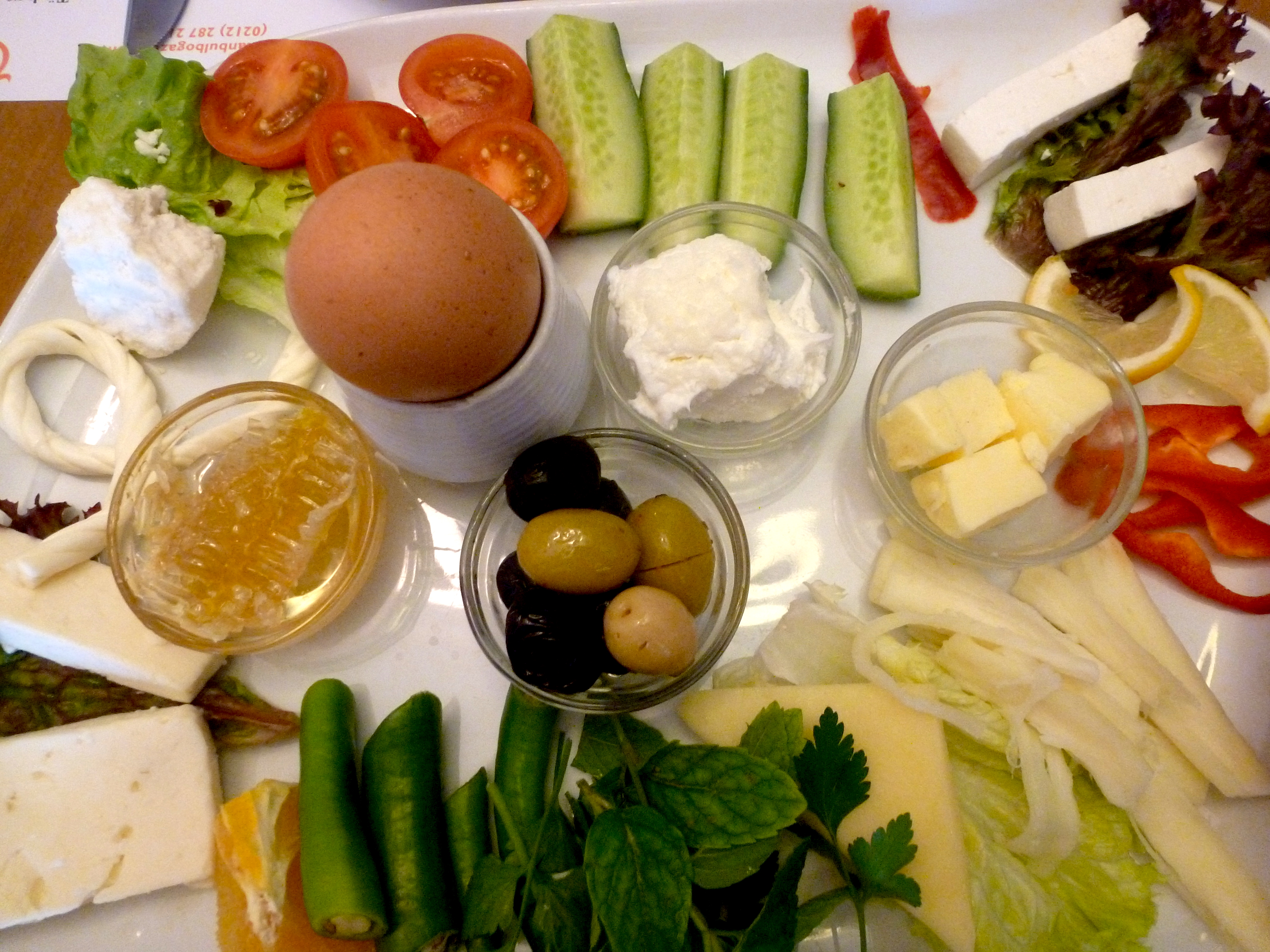 Typical Turkish breakfast (not pictured: bread and unlimited tea)