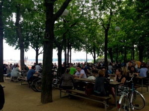 Letná Beer Garden, one of the most popular places in Prague to drink beer in good weather and one of the best views of all of Prague.