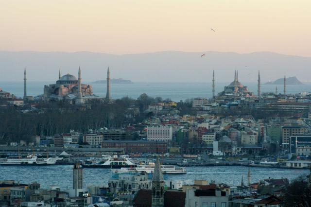 View of the Old City, the Golden Horn, and the Sea of Marmara from 360 Bar, in the New City.