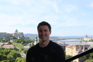 John in front of Buda Castle