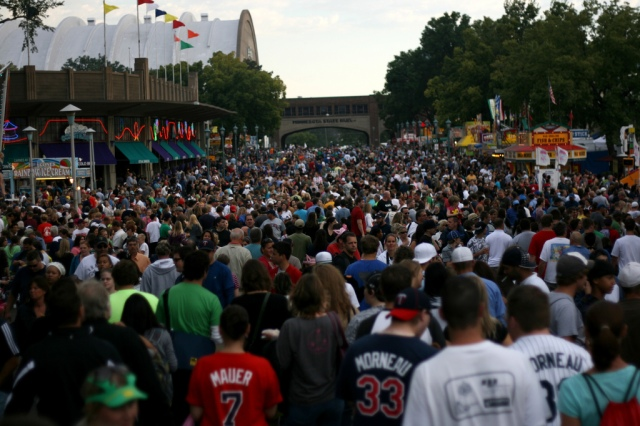 Crowds of people at the Minnesota State Fair.