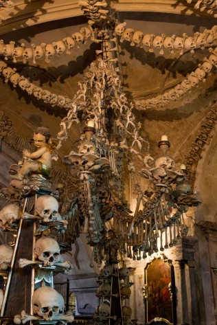 Bones used for architectural elements in Sedlec Ossuary